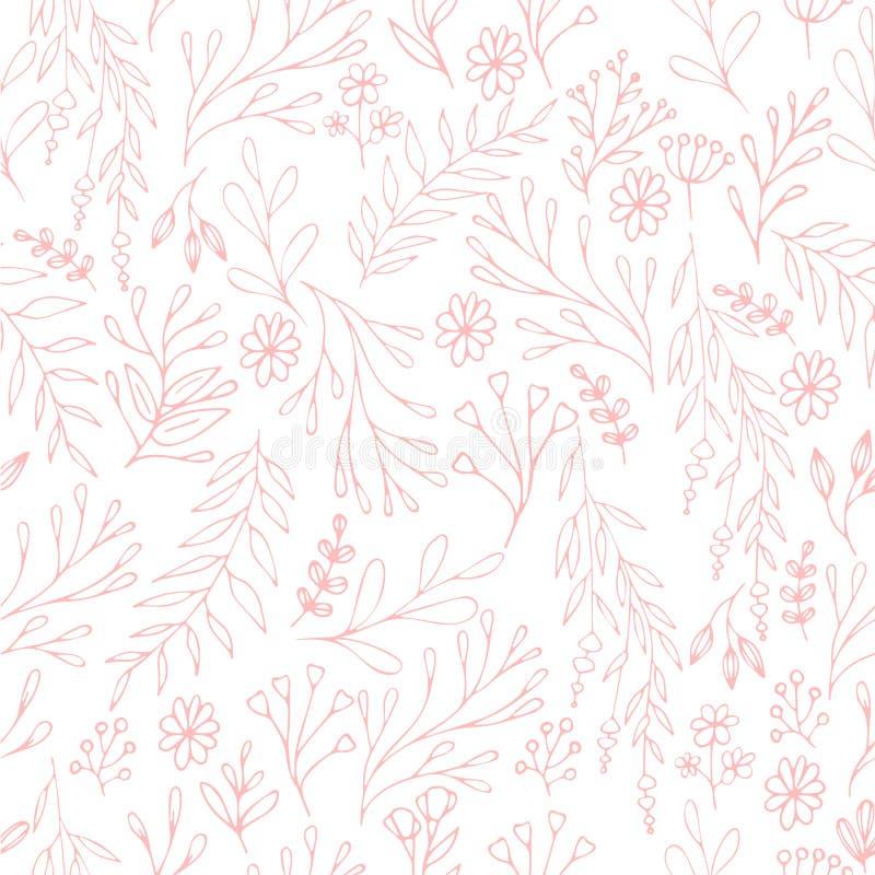 Vector il modello floreale nello stile di scarabocchio con i fiori e le foglie Addolcisca, balzi fondo floreale fotografie stock