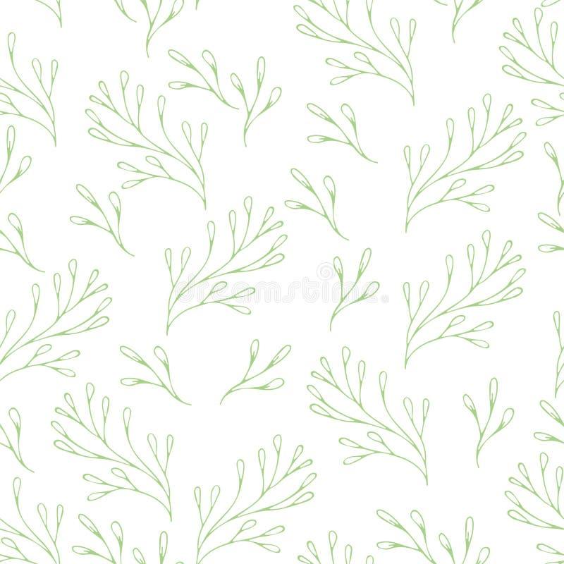 Vector il modello floreale nello stile di scarabocchio con i fiori e le foglie Addolcisca, balzi fondo floreale fotografie stock libere da diritti