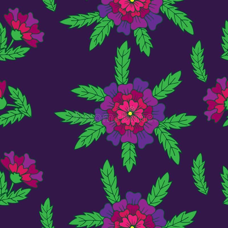 Vector il modello floreale senza cuciture con il fiore e il gree operati viola royalty illustrazione gratis