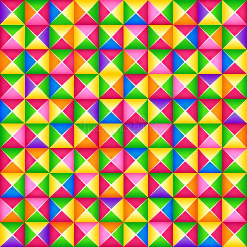 Vector il modello geometrico variopinto senza cuciture 3d dai blocchi quadrati Stile di origami illustrazione vettoriale