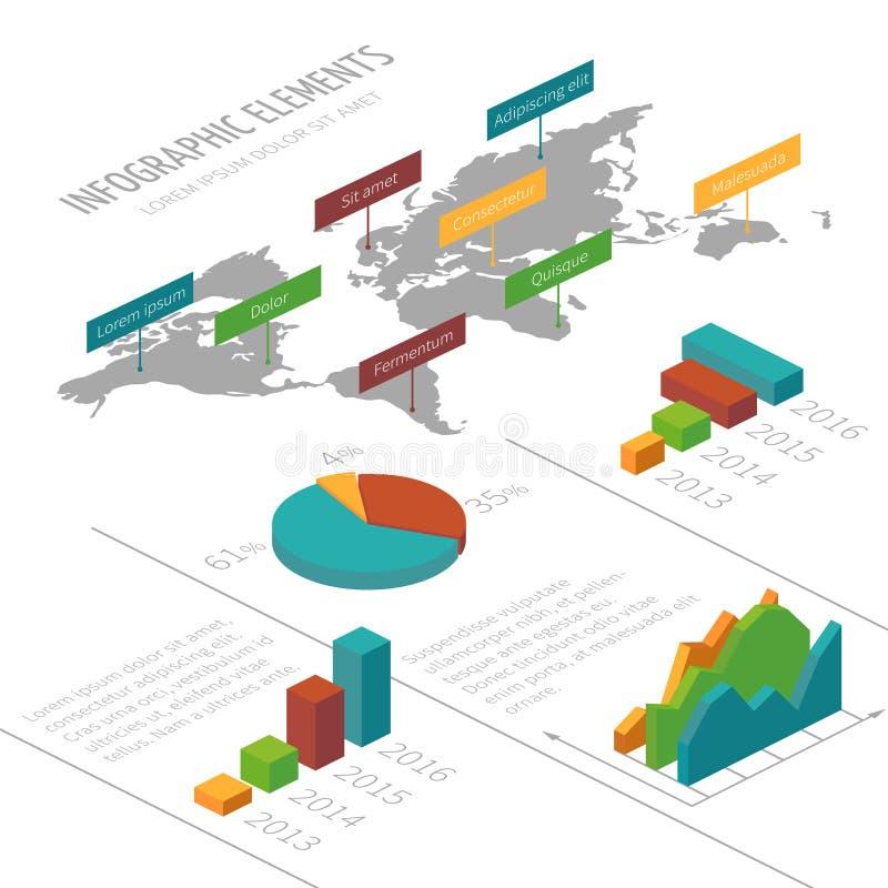 Vector il modello infographic con gli elementi 3D, la mappa di mondo ed i grafici isometrici per le presentazioni di affari illustrazione di stock