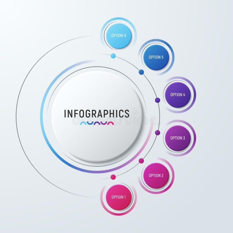 Vector il modello infographic per le presentazioni, adve del grafico del cerchio illustrazione di stock
