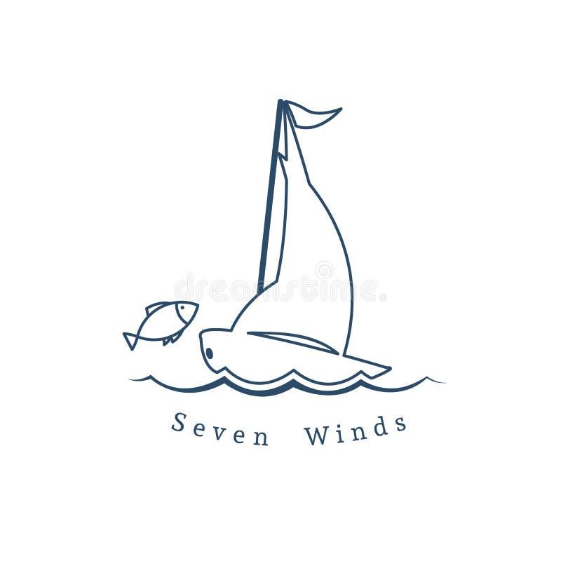 Vector il modello lineare di logo con l'yacht ed il pesce royalty illustrazione gratis