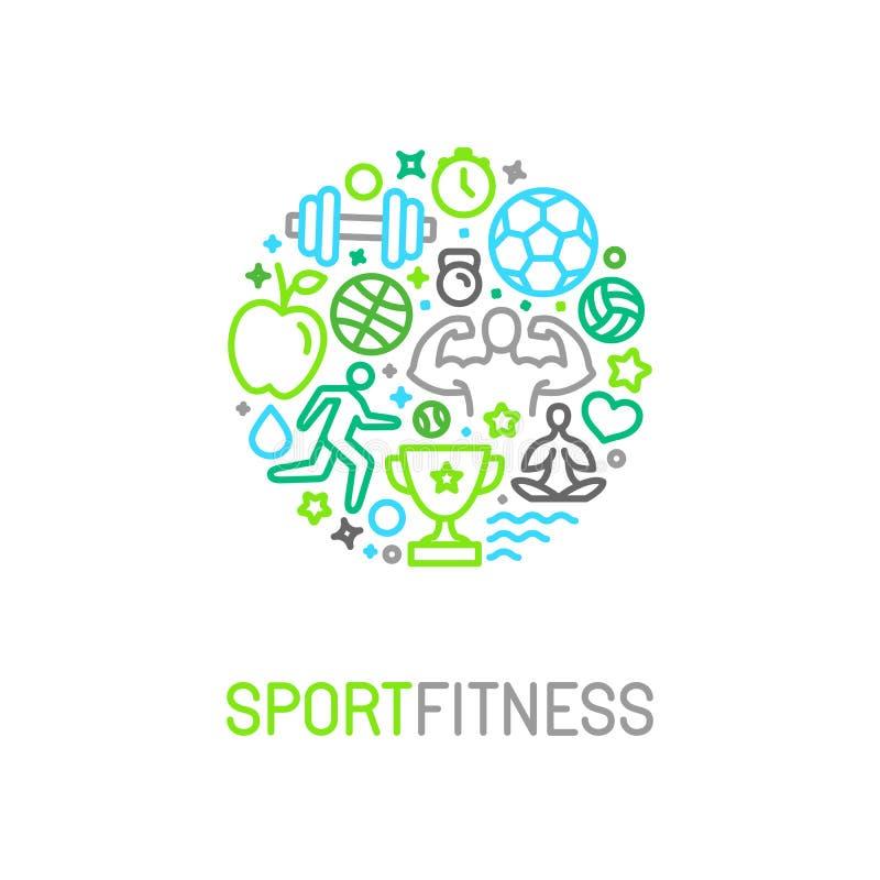 Vector il modello lineare di progettazione di logo di forma fisica e di sport illustrazione di stock