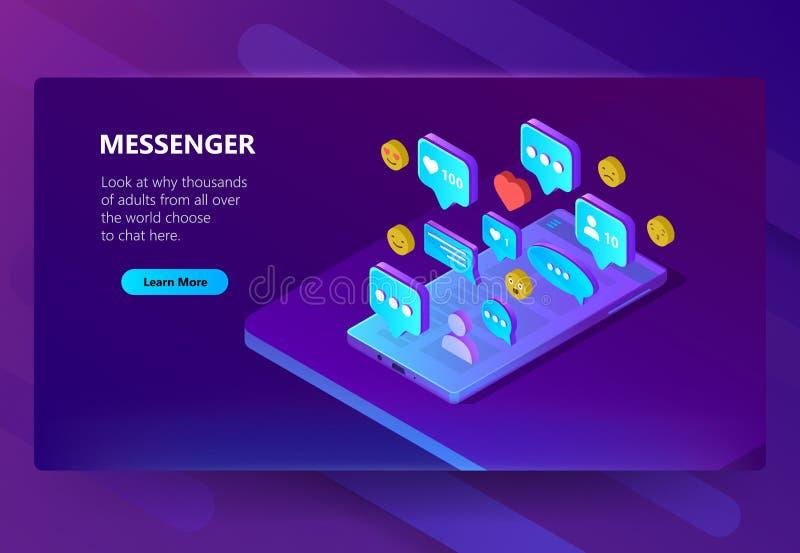 Vector il modello per il messaggero adulto, chiacchierata del sito illustrazione di stock