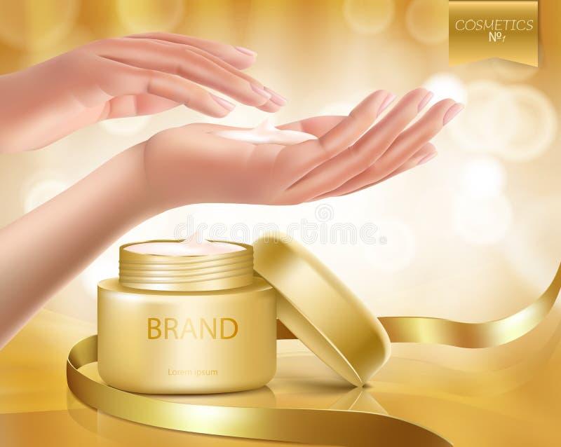 Vector il modello premio del modello degli annunci della crema di cura di pelle illustrazione di stock