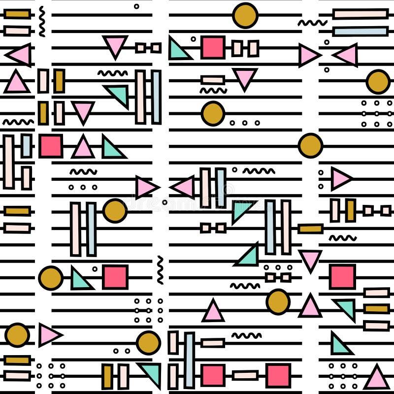 Vector il modello senza cuciture astratto con le forme geometriche sui precedenti a strisce Stile di Memphis illustrazione di stock