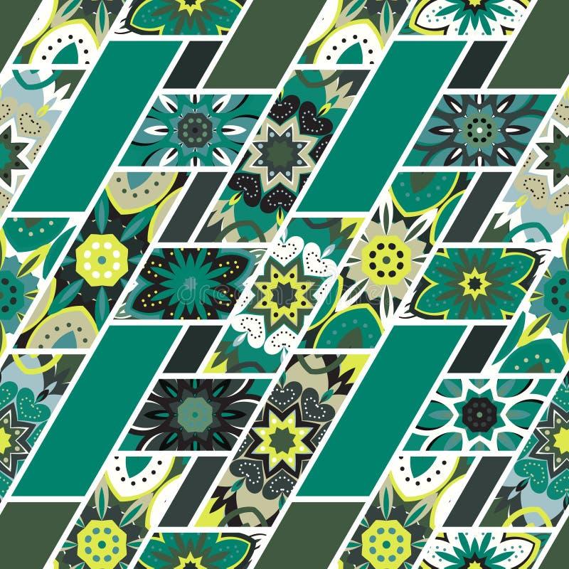 Vector il modello senza cuciture astratto della rappezzatura con geometrico e gli ornamenti floreali, i fiori stilizzati, punti m illustrazione vettoriale