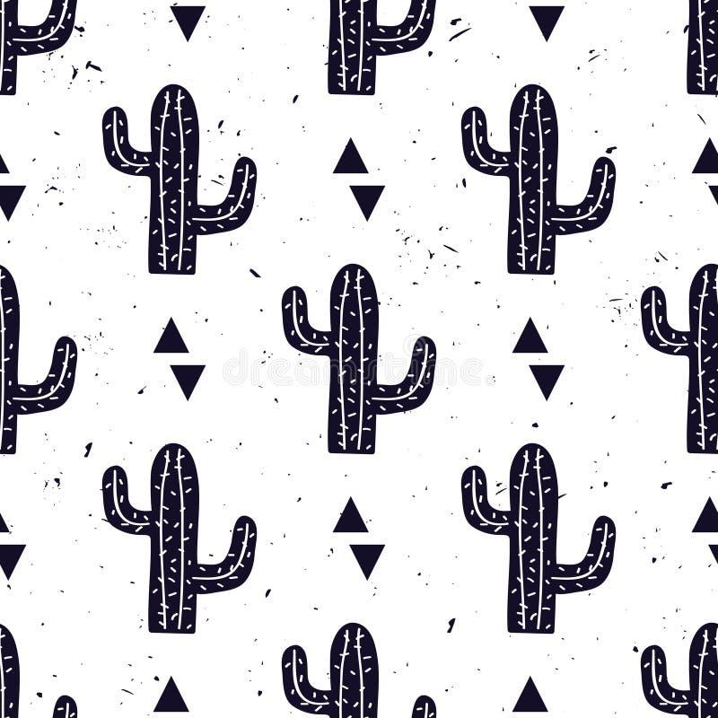 Vector il modello senza cuciture in bianco e nero con i cactus ed i triangoli illustrazione vettoriale