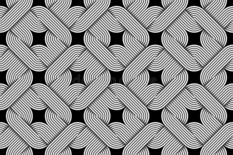 Vector il modello senza cuciture a catena di espressione quadratica dei fili intrecciati illustrazione vettoriale