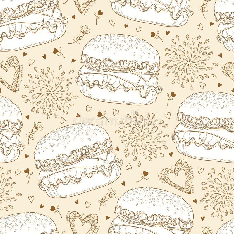 Vector il modello senza cuciture con il cheeseburger o l'hamburger del profilo con formaggio, cuori e gocce sui precedenti beige  royalty illustrazione gratis