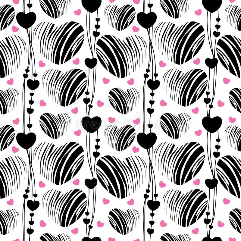 Vector il modello senza cuciture con cuore nero e rosa a strisce e linee sui precedenti bianchi Elementi di progettazione e simbo illustrazione vettoriale