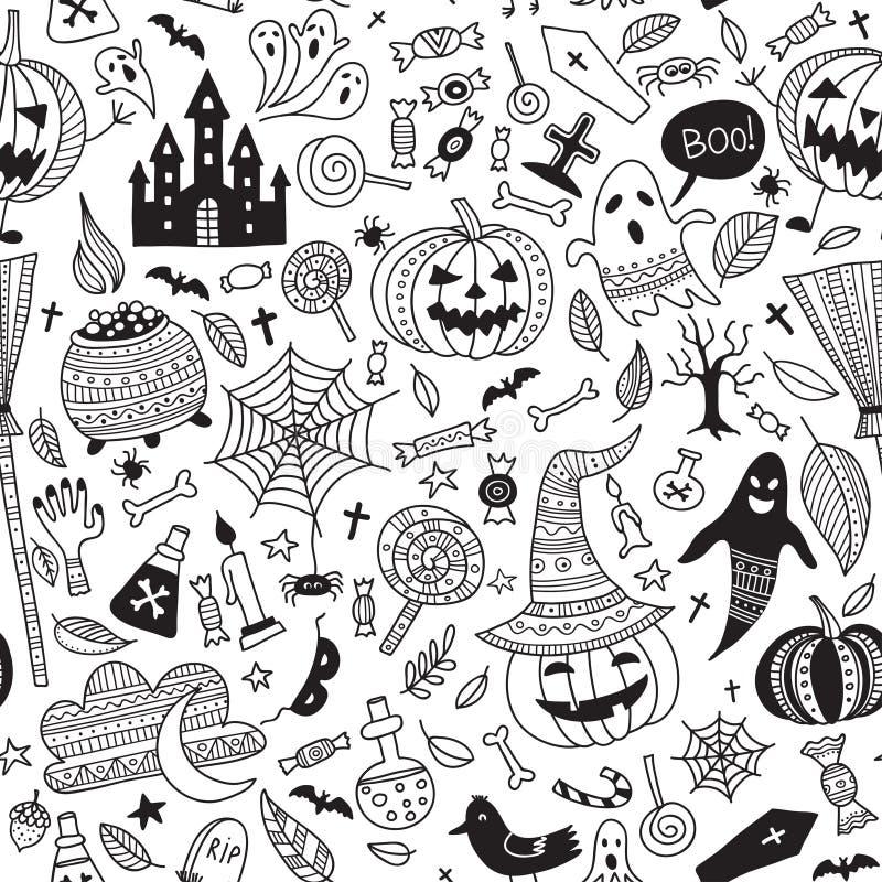 Vector il modello senza cuciture con gli oggetti di Halloween nello stile dell'ornamentale di boho royalty illustrazione gratis
