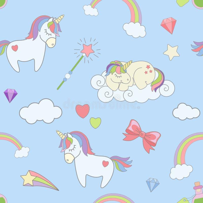 Vector il modello senza cuciture con gli unicorni, le nuvole dell'arcobaleno, i magicsticks e le stelle svegli del cuore Fondo di illustrazione di stock