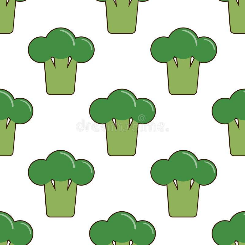 Vector il modello senza cuciture con i broccoli del fumetto isolati su bianco Verdure saporite luminose Illustrazione usata per l illustrazione vettoriale