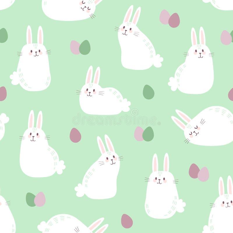 Vector il modello senza cuciture con i coniglietti e le uova di Pasqua svegli royalty illustrazione gratis