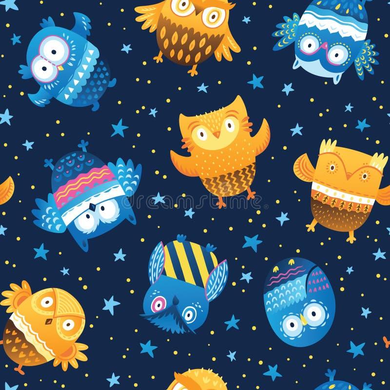 Vector il modello senza cuciture con i gufi del fumetto nelle stelle di notte Fondo sveglio del bambino royalty illustrazione gratis