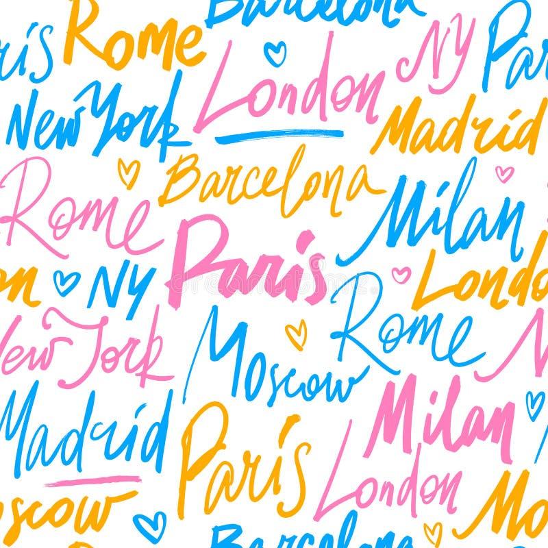 Vector il modello senza cuciture con i nomi delle città del mondo illustrazione di stock