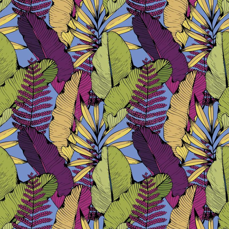 Vector il modello senza cuciture con i rami e le foglie tropicali Illustrazione della mano Priorità bassa decorativa per il diseg illustrazione vettoriale