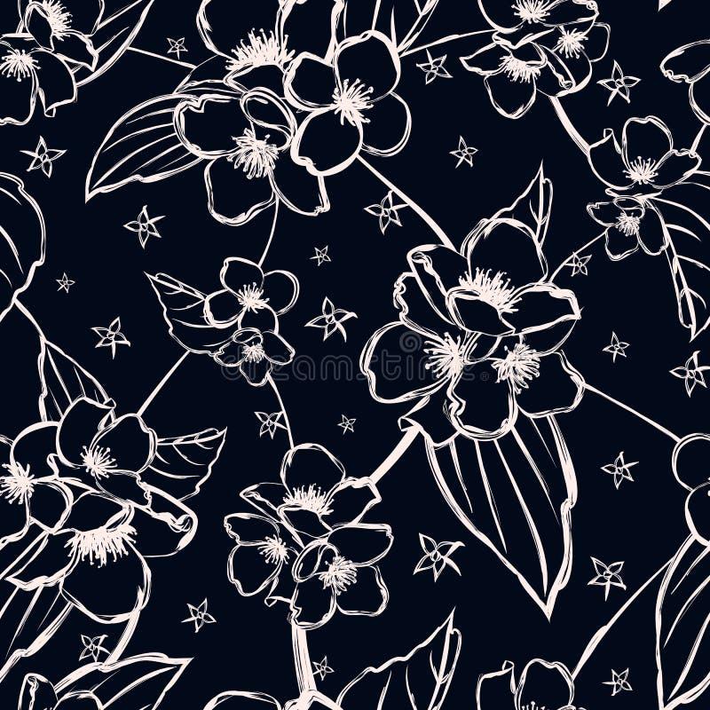 Vector il modello senza cuciture con i rami stilizzati del gelsomino per la flora royalty illustrazione gratis