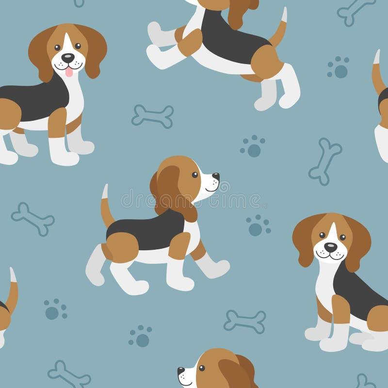 Vector il modello senza cuciture con il bambino sveglio del cane da lepre del fumetto illustrazione vettoriale