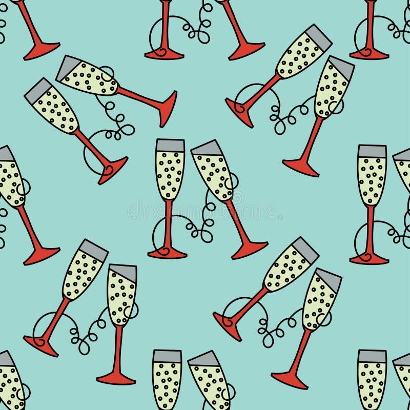 Vector il modello senza cuciture con il vetro del champagne per le feste di Natale ed il nuovo anno 2017 illustrazione di stock