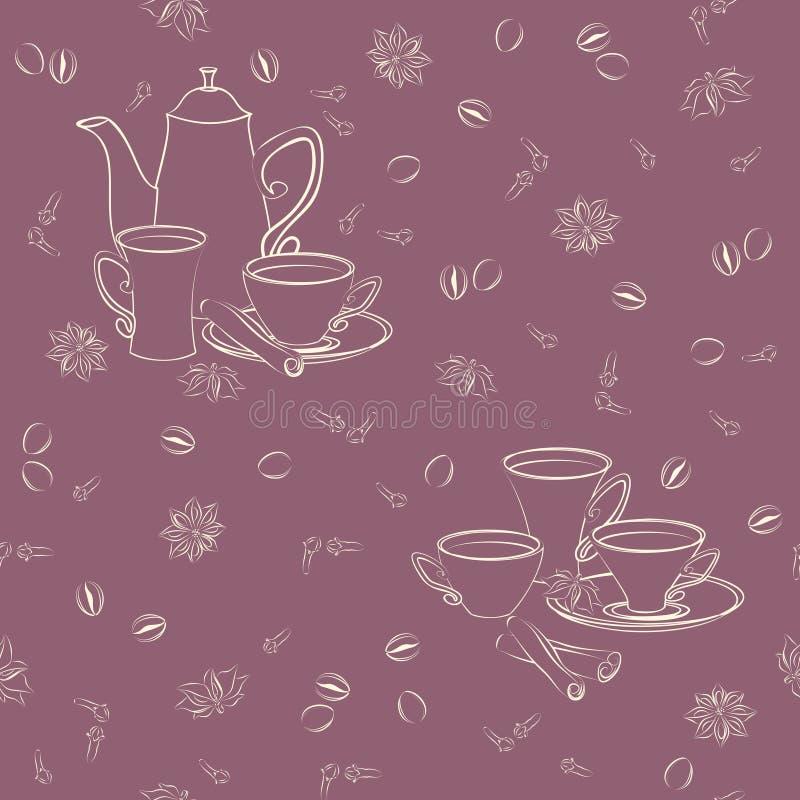 Vector il modello senza cuciture con la caffettiera, le tazze e le spezie orientali illustrazione di stock