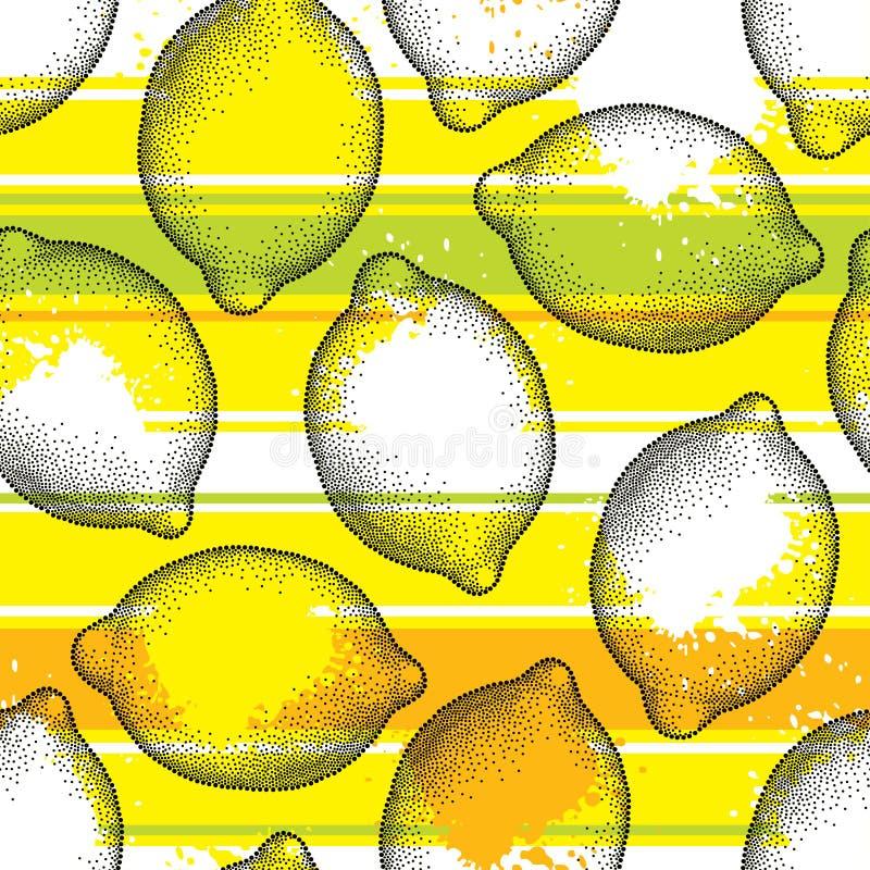 Vector il modello senza cuciture con la frutta punteggiata del limone sui precedenti con le bande orizzontali bianche, arancio e  royalty illustrazione gratis