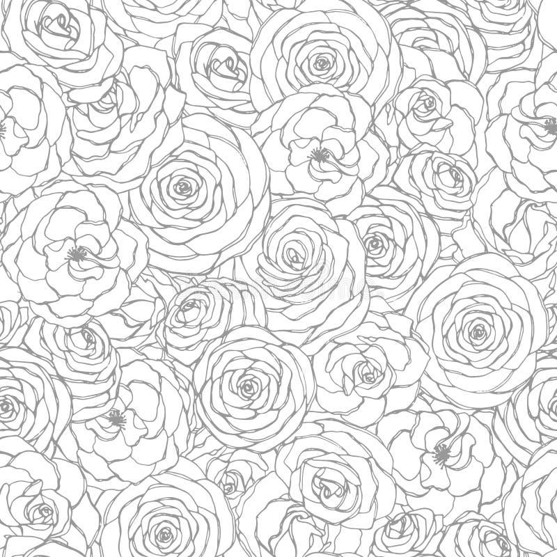 Vector il modello senza cuciture con la linea arte rosa dei fiori sui precedenti bianchi Ornamento floreale disegnato a mano di r illustrazione vettoriale