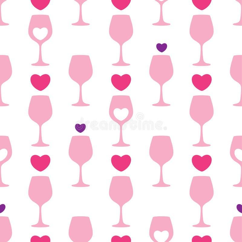 Vector il modello senza cuciture con la siluetta rosa del bicchiere di vino e dei cuori sui precedenti bianchi Progettazione per  royalty illustrazione gratis