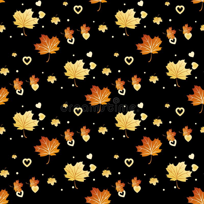 Vector il modello senza cuciture con le foglie ed il cuore di autunno royalty illustrazione gratis