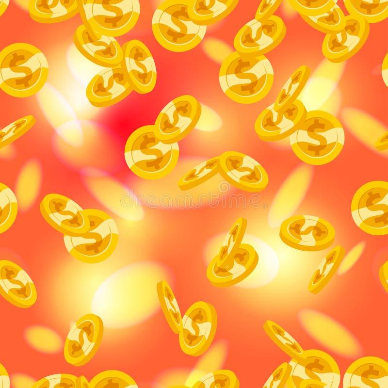 Vector il modello senza cuciture con le monete dorate di caduta isolate su fondo vago rosso royalty illustrazione gratis