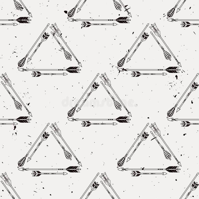 Vector il modello senza cuciture con le strutture tribali con le frecce etniche illustrazione vettoriale