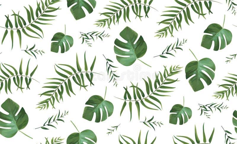 Vector il modello senza cuciture con PA tropicale della foresta di stile dell'acquerello illustrazione vettoriale