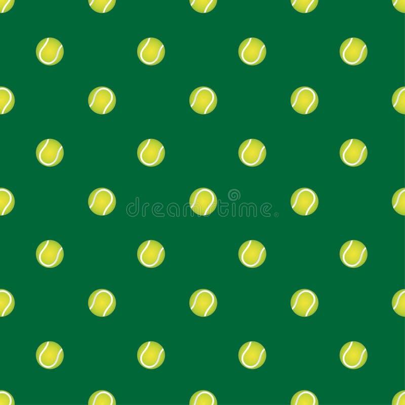 Vector il modello senza cuciture con pallina da tennis su un fondo verde Il contesto alla moda di temi di sport per i tessuti e q royalty illustrazione gratis