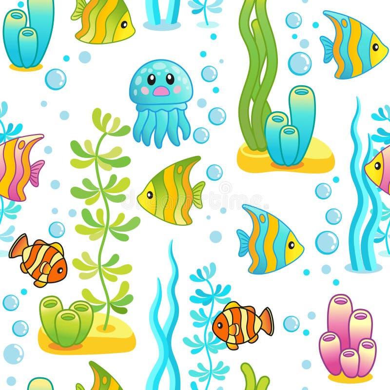 Vector il modello senza cuciture con progettazione subacquea e le creature divertenti del mare Progettazione con i pesci luminosi royalty illustrazione gratis