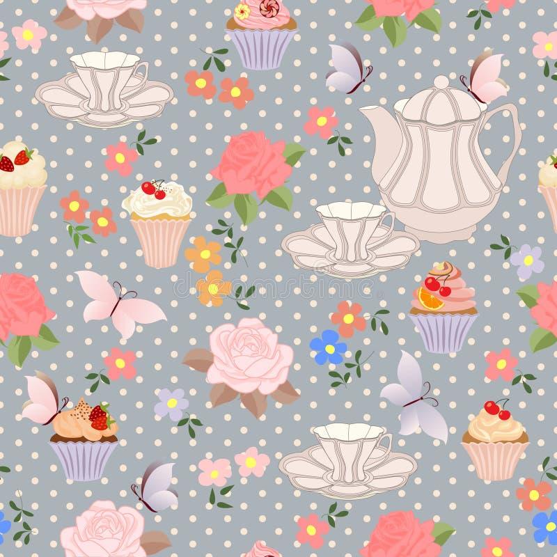 Vector il modello senza cuciture con tè, le rose, le margherite, farfalle immagini stock libere da diritti