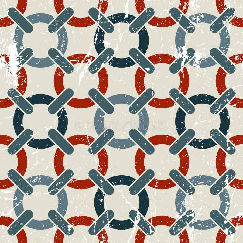 Vector il modello senza cuciture dell'estratto geometrico del tessuto, parte consumata macchiata illustrazione vettoriale