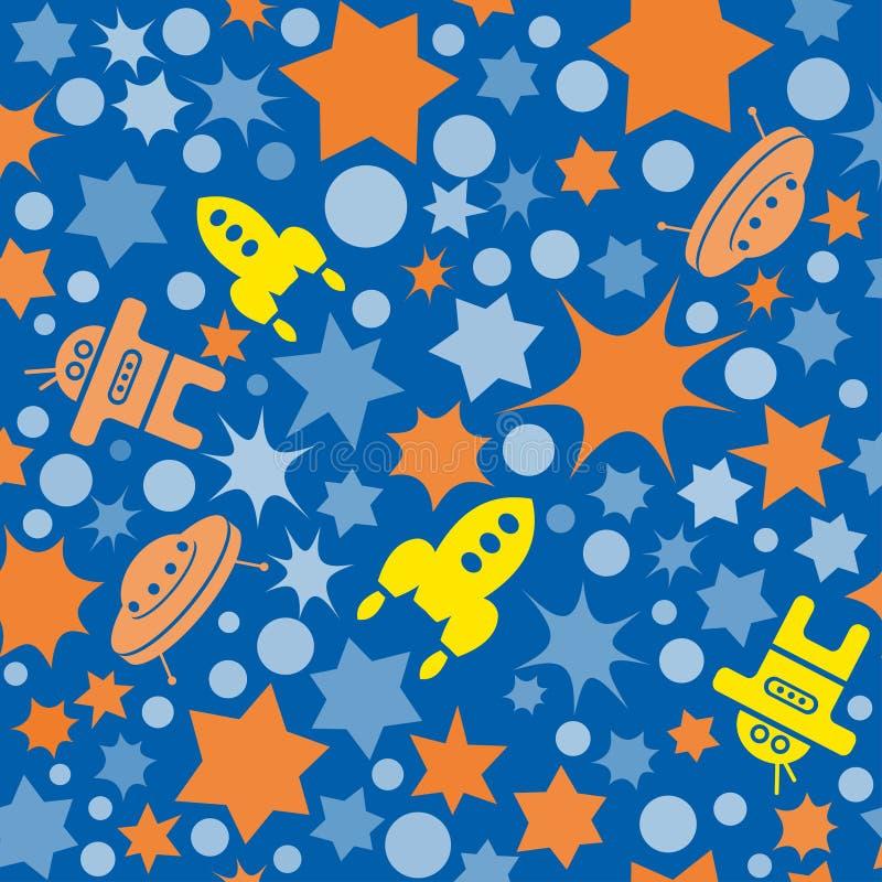 Vector il modello senza cuciture dello spazio con la stella, i punti ed i razzi Retro fondo della stampa Elementi caotici, effett illustrazione di stock