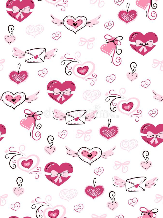 Vector il modello senza cuciture di amore del giorno del ` s del biglietto di S. Valentino dai cuori, dalle buste e dai fiori dis illustrazione di stock