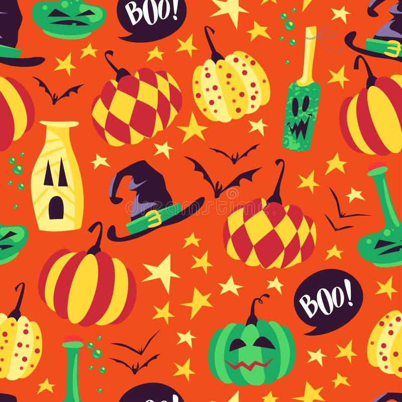 Vector il modello senza cuciture di Halloween con gli elementi tradizionali magici su fondo arancio illustrazione di stock