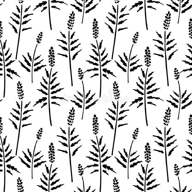 Vector il modello senza cuciture di inchiostro che disegna le piante selvatiche, le erbe, l'illustrazione botanica monocromatica, illustrazione di stock