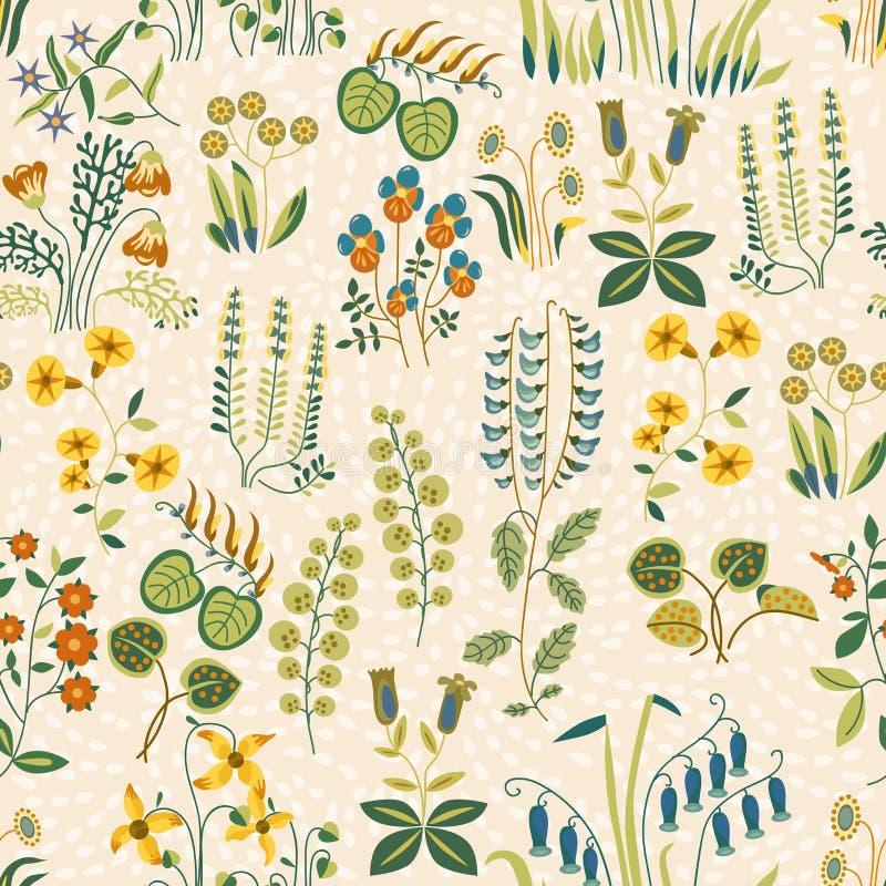 Vector il modello senza cuciture di piccoli fiori differenti nello stile elegante misero illustrazione vettoriale