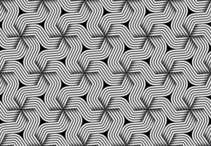 Vector il modello senza cuciture esagonale di fibra torta monocromatica illustrazione vettoriale