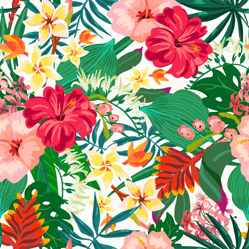 Vector il modello senza cuciture esotico d'annata naturale dell'estate con le foglie tropicali, le foglie, i fiori, l'ibisco, orc royalty illustrazione gratis