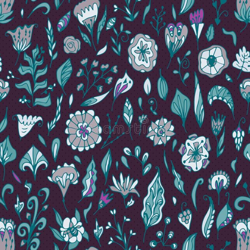 Vector il modello senza cuciture floreale con i fiori e le foglie astratti illustrazione di stock