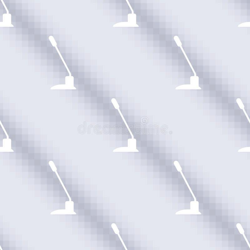 Vector il modello senza cuciture, fondo simmetrico con il microfono sopra fondo blu illustrazione di stock