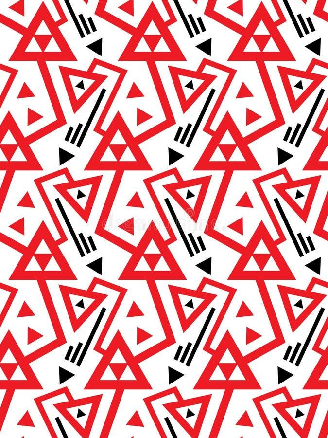 Vector il modello senza cuciture geometrico con le linee ed i triangoli rossi raddoppiati in bianco e nero illustrazione vettoriale