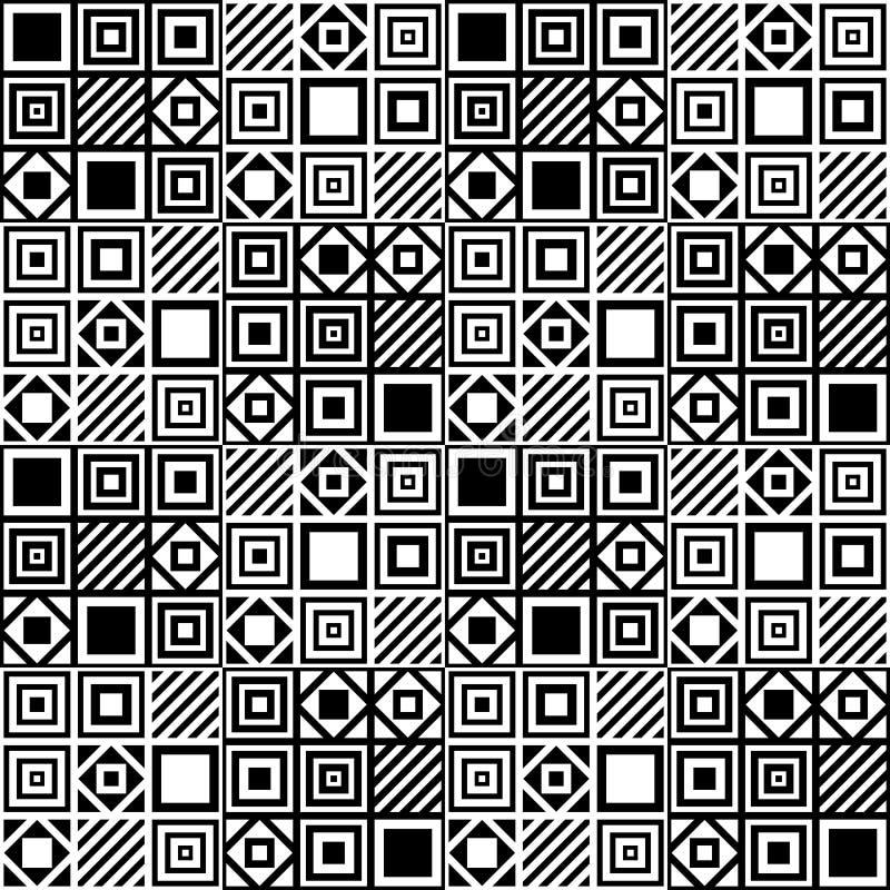 Vector il modello senza cuciture geometrico semplice con i quadrati e le linee in bianco e nero royalty illustrazione gratis