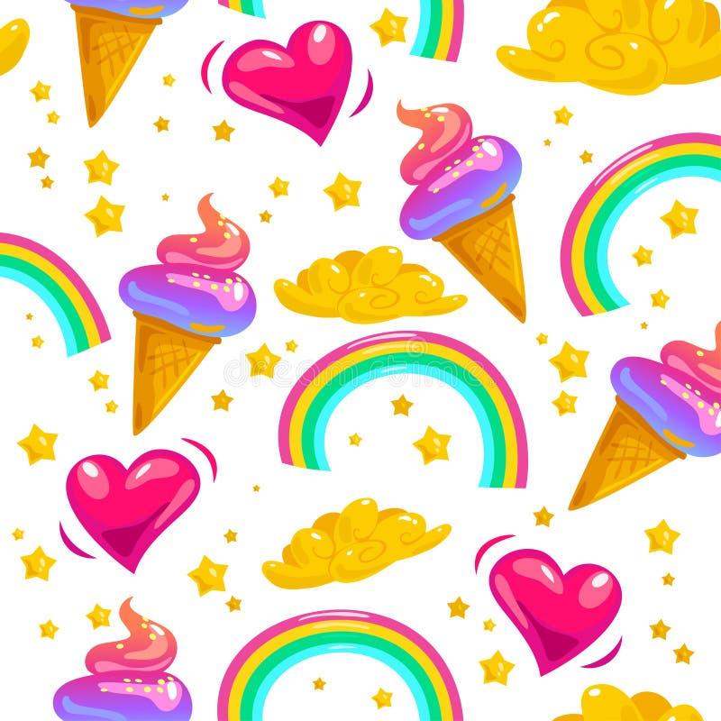 Vector il modello senza cuciture piano con le stelle, l'arcobaleno, il cono gelato, la nuvola magica ed il cuore illustrazione vettoriale